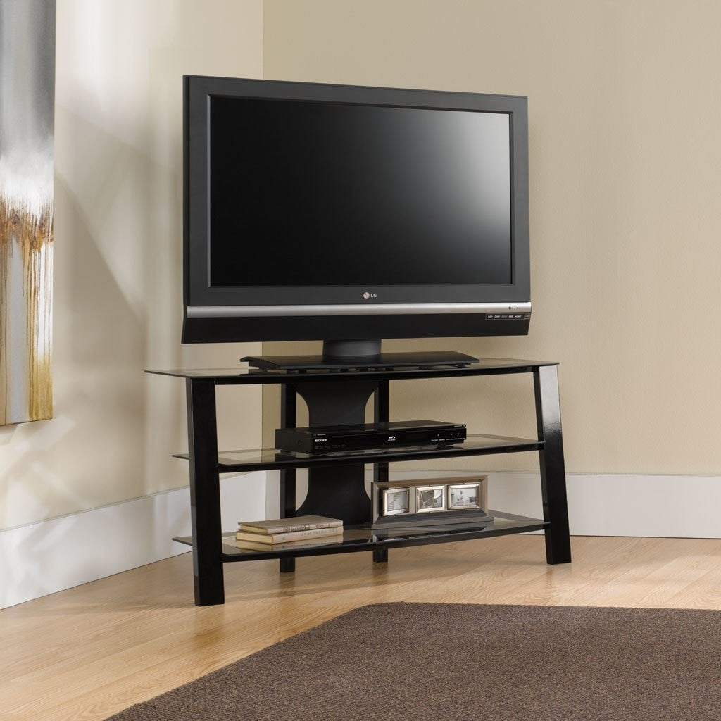 contemporary inch black metal tv stand with clear glass shelves  - contemporary inch black metal tv stand with clear glass shelveslivingroom