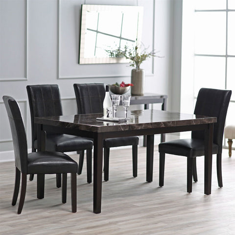Contemporary 42 x 42 inch Counter Height Dining Table With Faux Marble Top-Dining > Dining Tables-Loluxe