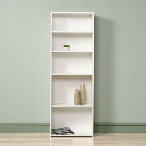 Contemporary 5-Shelf Bookcase Bookshelf in Soft White Wood Finish - Made in USA-Living Room > Bookcases-Loluxe