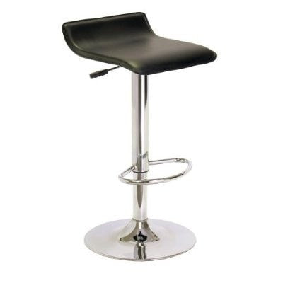 Contemporary ABS Air-Lift Swivel Bar Stool in Black Faux Leather-Dining > Barstools-Loluxe