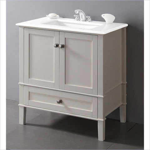 Contemporary Bathroom Vanity in Soft White with Marble Top and Rectangle Sink-Bathroom > Bathroom Vanities-Loluxe