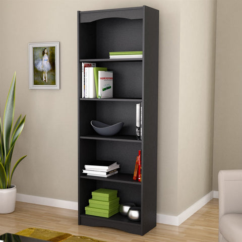 Contemporary Black Bookcase with 5 Shelves and Curved Accents-Living Room > Bookcases-Loluxe