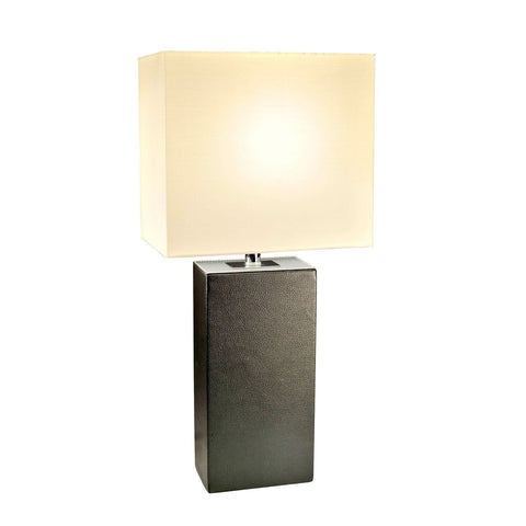 Contemporary Black Leather Table Lamp with White Fabric Shade-Lighting > Desk Lamps-Loluxe