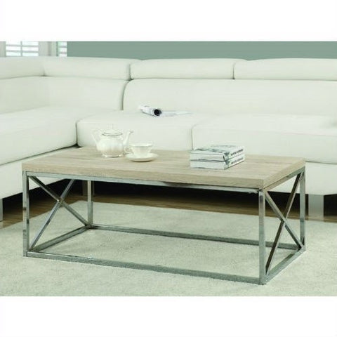 Contemporary Chrome Metal Coffee Table with Natural Finish Wood Top-Living Room > Coffee Tables-Loluxe