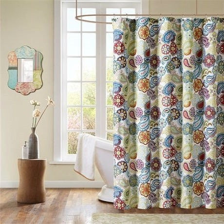 Contemporary Colorful Floral Paisley Shower Curtain-Bathroom > Shower Curtains-Loluxe