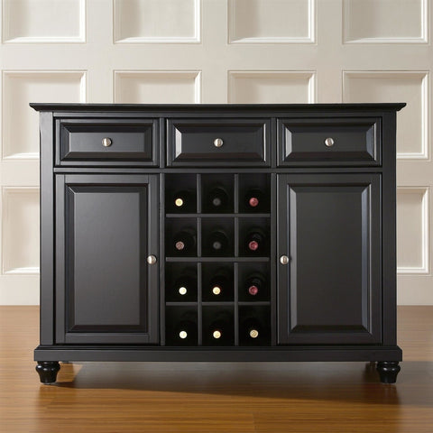 Contemporary Dining Room Sideboard Buffet Cabinet in Black-Dining > Sideboards & Buffets-Loluxe