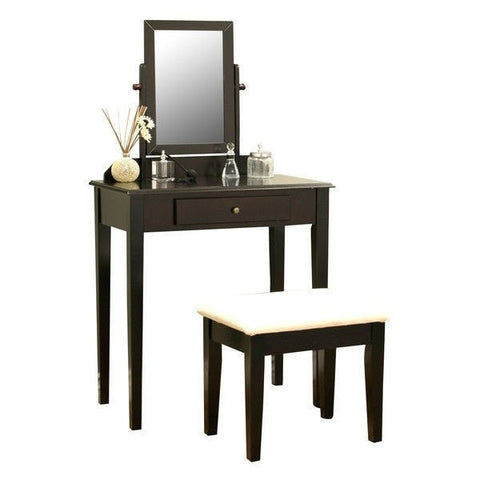 Contemporary Espresso Vanity Set with Beveled Mirror