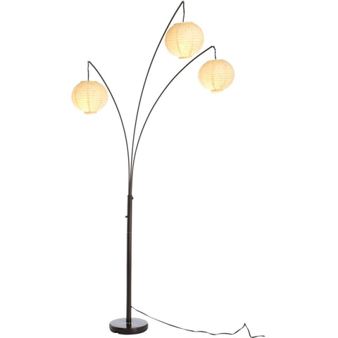 Contemporary Floor Lamp with 3-Light Rice Paper Arch Spheres in Antique Bronze-Lighting > Floor Lamps-Loluxe