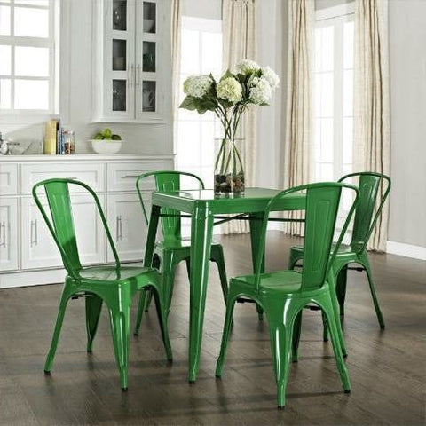 Contemporary French Cafe Style Sturdy Metal Dining Table in Green-Dining > Dining Tables-Loluxe