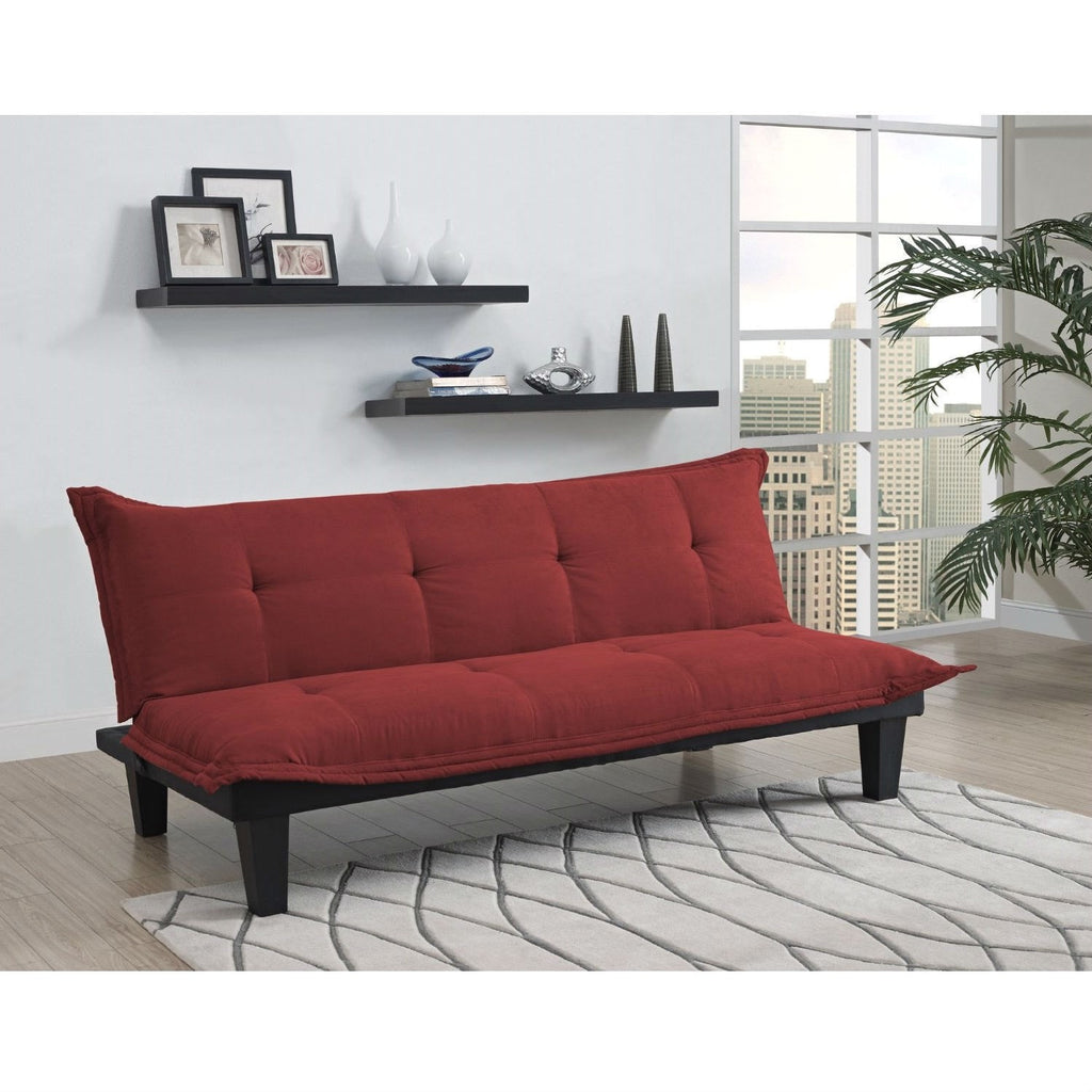 contemporary futon style sleeper sofa bed in red microfiber – loluxe - contemporary futon style sleeper sofa bed in red microfiberliving room sofasloluxe