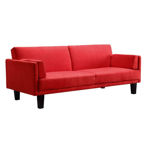 Contemporary Mid-Century Style Sofa Bed in Red Microfiber Upholstery-Living Room > Sofas-Loluxe