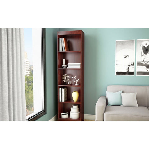 Contemporary Narrow Bookcase with 5 Shelves in Royal Cherry Finish-Living Room > Bookcases-Loluxe
