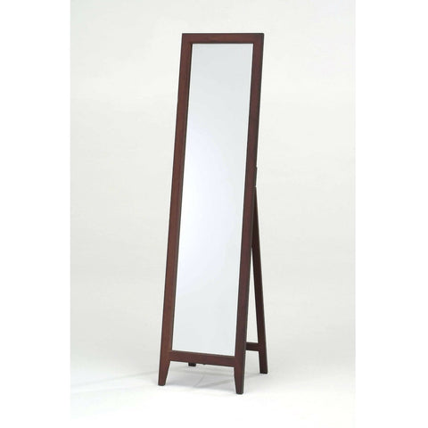 Contemporary Solid Wood Floor Mirror in Walnut Finish-Accents > Mirrors-Loluxe