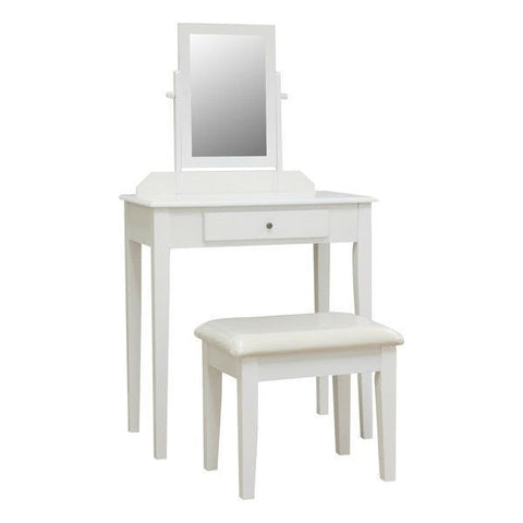 Contemporary White Vanity Set with Beveled Mirror-Bathroom > Bathroom Vanities-Loluxe
