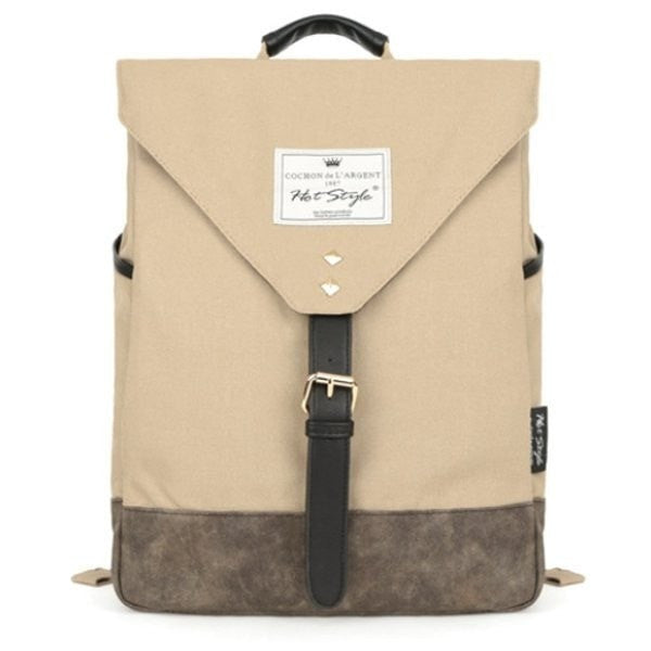 Contrast Color Canvas Backpack Students School Book Bags Leisure Rucksack-backpack bookbag-Loluxe