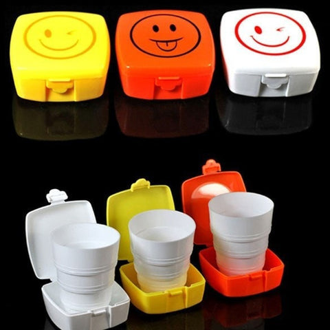 Cool Concept Happy Face Folding Travel Cups w/Lid 3 Colors-Loluxe
