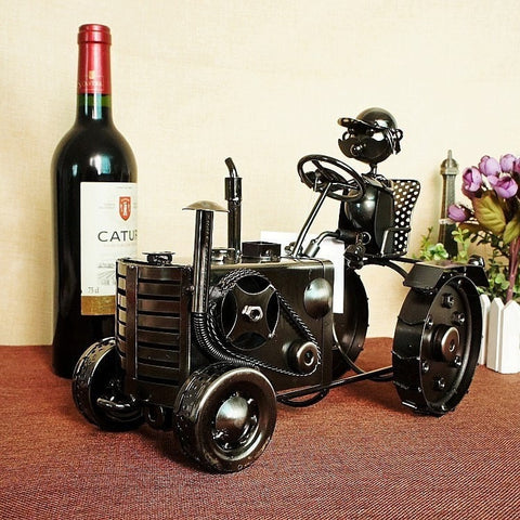 Cool Vintage Tractor Decorative Handmade Wine Bottle Holder-Kitchen > Wine Racks and Coolers-Loluxe
