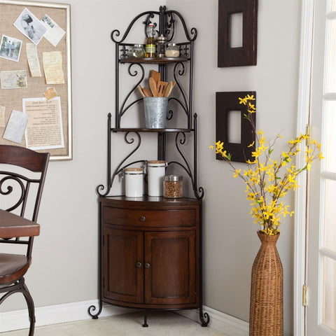 Corner Bakers Rack with Wrought Iron Frame and Wood Storage Shelves-Kitchen > Bakers Racks-Loluxe