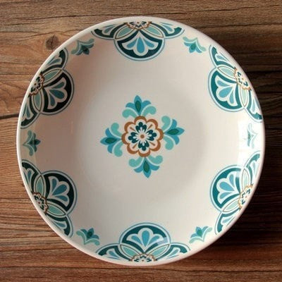 Country French Ceramic Bohemian Style Soup Plate-Loluxe