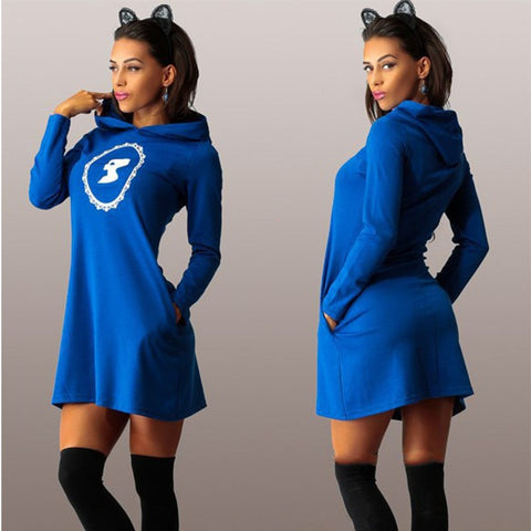 Cozy Long-Sleeve Hooded Sweatshirt Dress S-XL 3 Colors-Loluxe