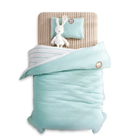 Cozy Soft Reversible Solid Stripe Toddler 4-PC Bedding Set 4 Colors-Loluxe