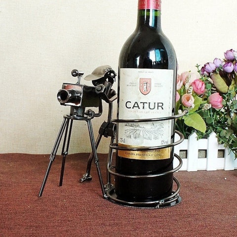 Creative Iron Cameraman Wine Bottle Holder-Kitchen > Wine Racks and Coolers-Loluxe