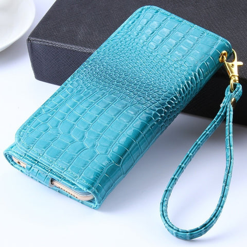 Crocodile Pattern Premium Luxury Leather Wallet w/Strap Cellphone Case for Apple iPhone Samsung Galaxy - 4 Colors-Loluxe