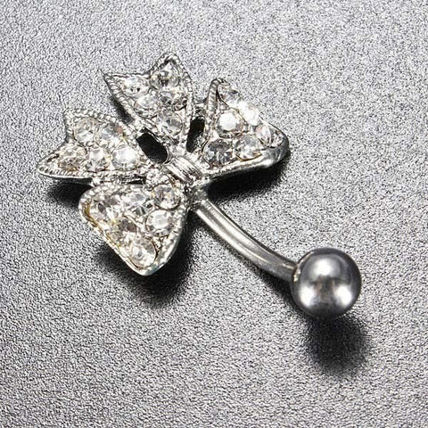 Crystal Bow Cute Belly Button Navel Ring Piercing Body Jewelry-Loluxe