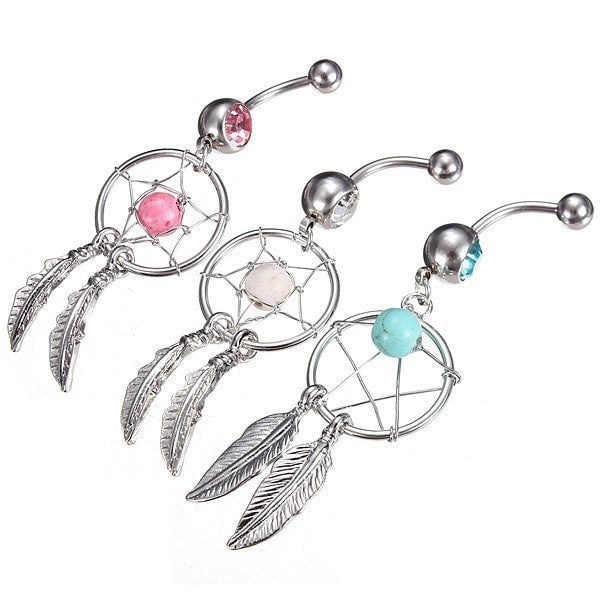 Crystal Dream Catcher Dangle Navel Bar Belly Ring Body Jewelry-Loluxe
