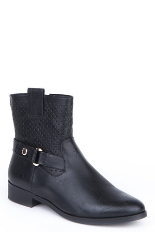 Cut Out Design Ankle Boots-Footwear > Boots-Loluxe