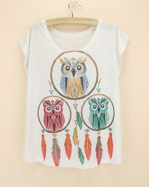 Cute Comfortable Fashion-Print Novelty Women's Summer T-Shirt One Size 21 Designs-Loluxe