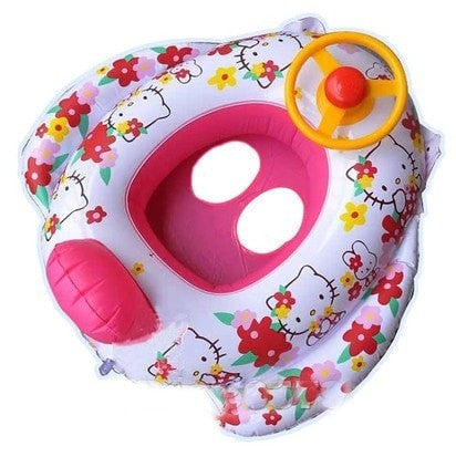 Cute Little Girl's Hello Kitty Inflatable Boat w/Speaker & Steering Wheel-Loluxe