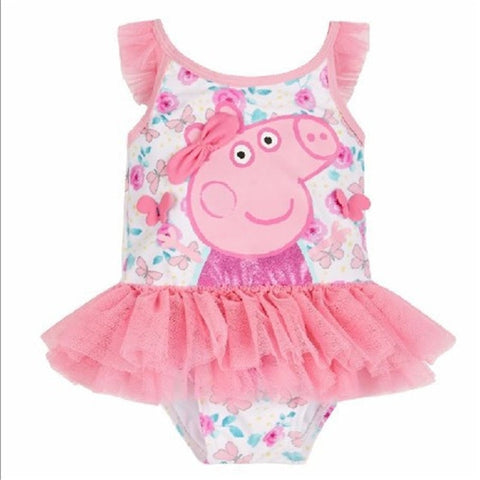 Cute Pink Little Girl's Peppy Pig Ruffled Skirted One-Piece Swimsuit 2T-6-Loluxe