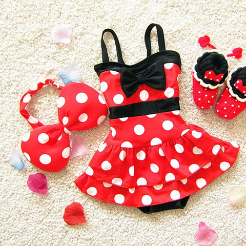 Cute Polka-Dot Bowknot Girl's One-Piece Bathing Suit w/Matching Bow Head Piece S-XL-Loluxe