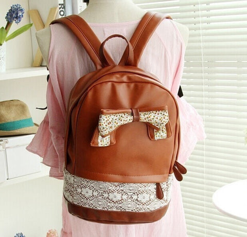 Cute PU Leather Schoolbag w/Lace Bow/Accent Backpack 3 Colors-Loluxe