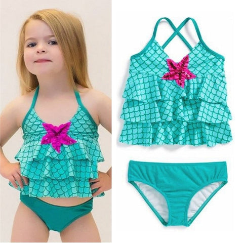Cute Teal Starfish Mermaid Halter Little Girl's 2-PC Swimsuit S-2XL-Loluxe