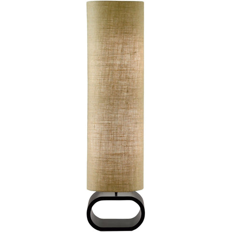 Cylinder Shape Medium Brown Burlap Floor Lamp with Bent Wood Base-Lighting > Floor Lamps-Loluxe