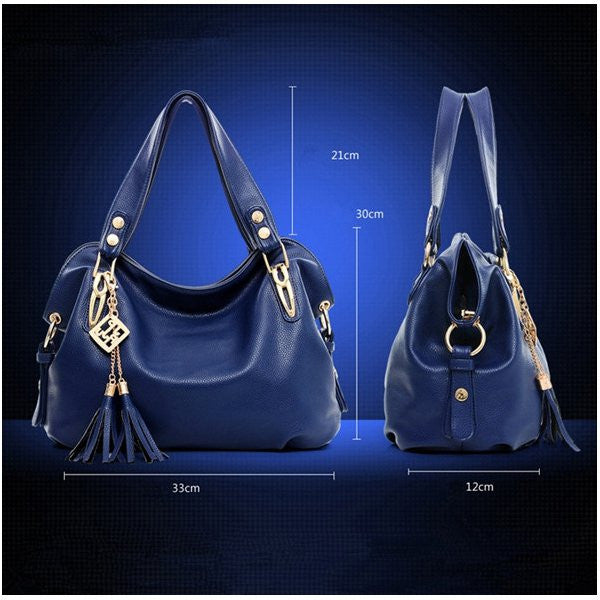 Ladies Fashion PU Leather Tassel Handbag 4 Colors