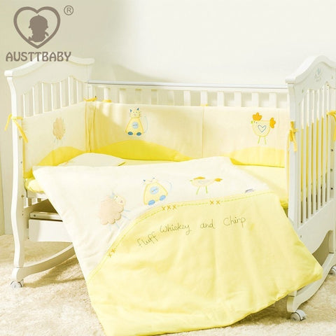 Dainty Pretty Yellow Multifunctional 100% Cotton 4-PC Baby Nursery Bedding Set-Loluxe