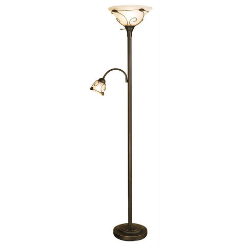 Dark-bronze finish Torchiere Floor Lamp with Side Reading Lamp