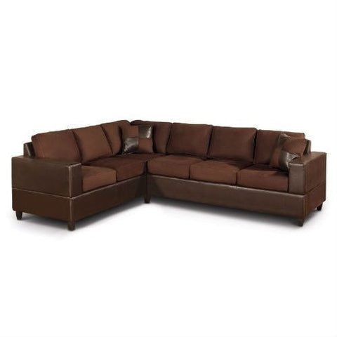 Dark Brown Chocolate Sectional Sofa in Microfiber and Faux Leather-Living Room > Sofas-Loluxe