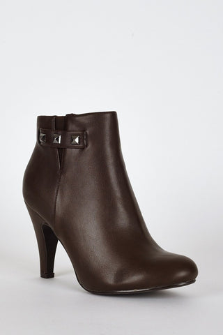 Dark Brown Side Stud Detail High Heel Ankle Boots-Footwear > High Heels-Loluxe