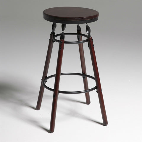 Dark Cherry Finish Wood Barstool with 30-inch High Seat-Dining > Barstools-Loluxe