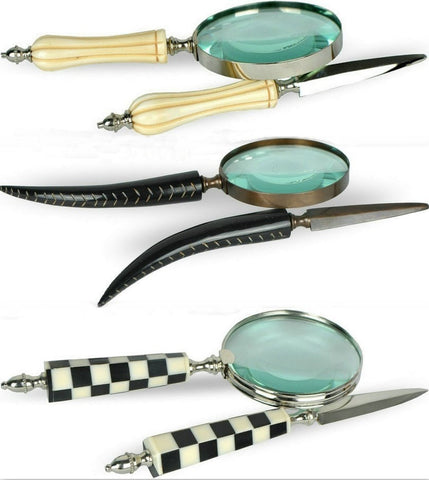 Decorative Carved Bone Magnifier/Letter Opener 2-PC Office Set 3 Designs-Loluxe