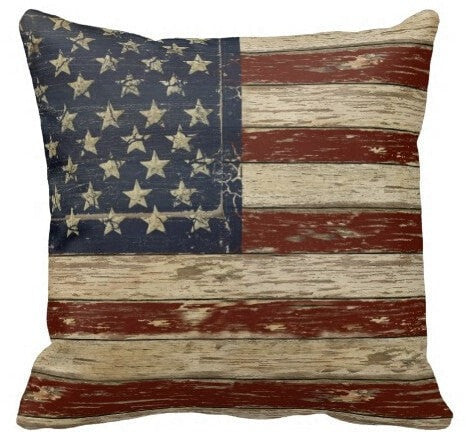 Decorative Old Glory Vintage Wood Style USA Flag Soft Satin Pillow Cases 5 Styles 5 Sizes-Loluxe