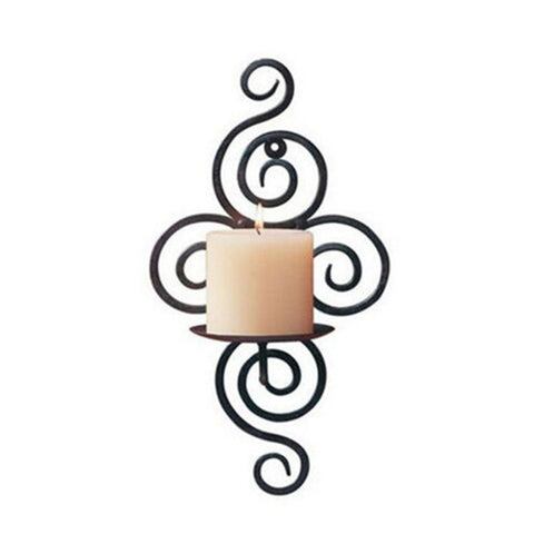 Decorative Wrought Iron Scroll Design Candlestick Hanging Wall Sconce Black-Loluxe
