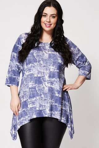 Denim Print 3/4 Sleeve Top-Plus Sizes-Loluxe