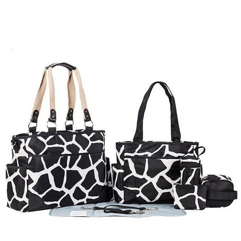 Designer 7-PC Microfiber Waterproof Large Capacity Diaper Tote Bag-Loluxe