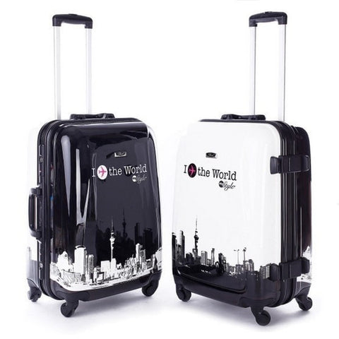 Designer Print Aluminum Frame Hardside Quality Spinner Wheel Trolley Luggage 3 Styles 3 Sizes-Loluxe