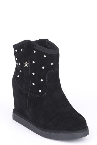 Diamante Studded Hidden Wedge Ankle Boots-Footwear > Wedges-Loluxe